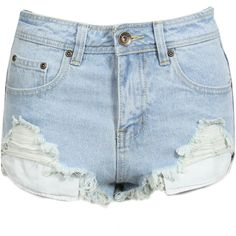 Distressed Denim Hot Pants (740 UYU) ❤ liked on Polyvore featuring shorts, bottoms, short, pants, distressed denim shorts, high waisted shorts, denim shorts, short jean shorts and high-waisted jean shorts