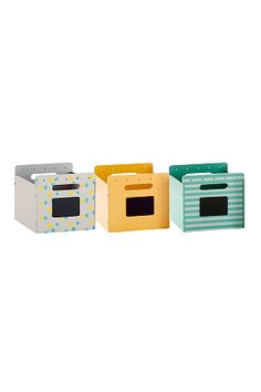 Set of 3 Printed Storage Boxes Blue print + blue stripe + petrol+Fuchsia print + pink + pink stripe+Grey print + yellow + sage stripe
