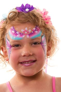 Fairy face paint designs - rainbow, flowers and wings design #facepaint, #fairyparty #facepaintdesigns