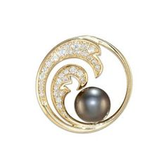 Tahitian Black Pearl Wave Pendant with Diamonds in 14K Yellow Gold - 24mm