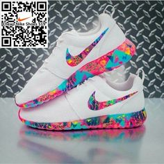Shoes: rose, roshe runs, colorful, multicolor, white, nike, nike shoes, nike running shoes, nike roshe run, nike roche, pink, purple, blue, neon, neon pink, neon blue, white shoes, yellow - Wheretoget