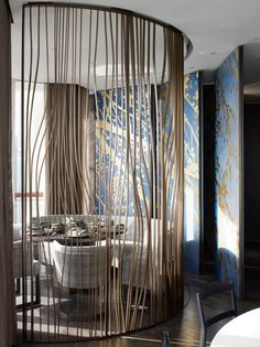 As a general dividing wall, maybe between kitchen and cafe, wall screen divider interior design, contemporary custom made casegoods | Find more interior design inspirations at http://www.brabbu.com/en/inspiration.php