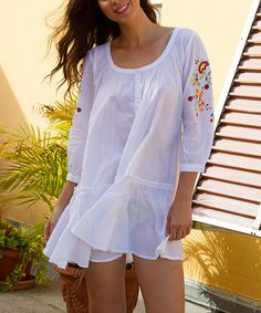 Another great find on #zulily! White Embroidered Swing Tunic by India Kashmir Imports #zulilyfinds