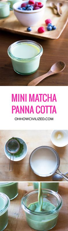 Mini Matcha (Green Tea) Panna Cotta - plus, a link to get a free matcha recipe book