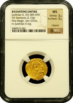 www.ancientgoldcoins.com - Byzantine Justinian II, NGC, Mint State, Strike 3/5, Surface 3/5 - 685-695 A.D.  First Reign Issue--  This is one of the most popular of all ancient gold coins as it is the first to have a depiction of Jesus Christ. The reverse shows a standing image of emperor Justinian.  It is listed as one of the top 100 greatest coins and is very desirable in any condition. - www.ancientgoldcoins.com