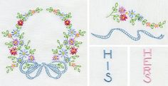 """Floral wreath with coordinating floral swag and decorative """"HIS"""" and """"HERS"""" lettering from our 2015 Internet Embroidery Club"""