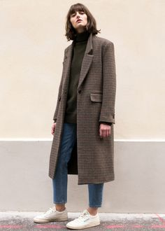Checked wool coat, denim and white sneakers