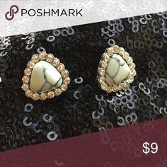 Stone Earrings Faux white howlite with rhinestones. Post back Jewelry Earrings