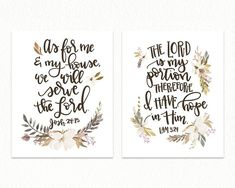 Home Interior Contemporary Neutral Kitchen Print Set of Two Bible Verse Prints - As for Me and My House and the Lord is My Portion - Farmhouse Wall Decor Verses For The Kitchen, Rustic Wall Decor, Entryway Decor, Kitchen Prints, Kitchen Walls, Neutral Kitchen, Farmhouse Kitchen Decor, Farmhouse Style, Family Room Decorating