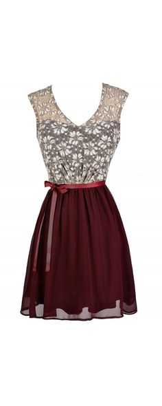 Sonoma Sunset Lace Dress in Burgundy  www.lilyboutique.com