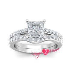 Solitaire Wedding Ring Set 925 Sterling Silver Engagement Ring Set Band 2.20 Ct White Princess Cut 10K White Gold Finish Promise Ring Set by Finger2Heart on Etsy