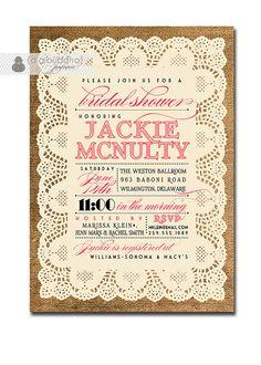 Lace Burlap Bridal Shower Invitation Vintage Rustic Hot Pink Fuchsia & Black Wedding Shower Invitation Digital or Printed - Jackie Style on Etsy, $23.00