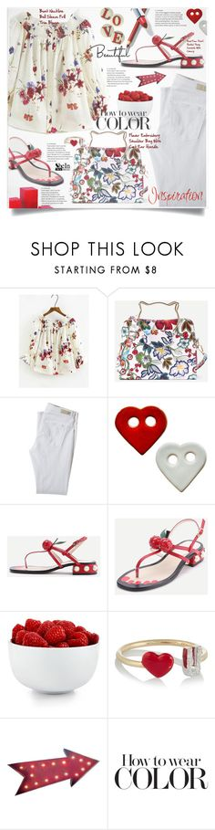 """""""Shein Flower Embroidery Style"""" by lillili25 ❤ liked on Polyvore featuring AG Adriano Goldschmied, WithChic, The Cellar, Alison Lou and Dot & Bo"""