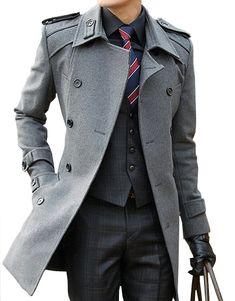 *Luxury Cool Grey Wool Blend Pea Coat