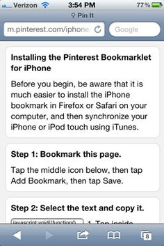 How to add the Pin It bookmark let to pin from iPhone (for dummies version) image.jpg