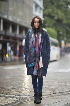 Printed scarf by Katrin Uri and Isabel Marant coat. More at urbanauburn.blogspot.no