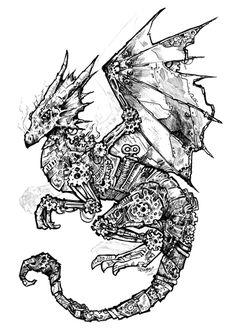 Clockwork Dragon Black and White by ~rynkitty on deviantART