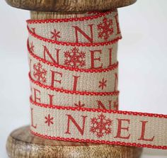 Noel Christmas Ribbon Colour Red Article 13929 This attractive Ribbon manufactured in the UK by Berisfords Ribbons is woven in this 15mm width and