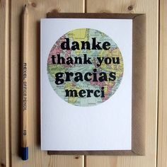'thank you' in different languages card by bookishly | notonthehighstreet.com- previous pinner.
