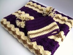 Baby Shower Gift Set, Crochet Baby Crib Blanket and Hat Gift Set, Purple, Cream, and Brown