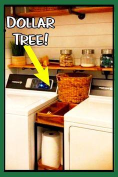Small Laundry Room Ideas - Space Saving Ideas for Tiny Laundry Rooms (Creative a. Small Laundry Room Ideas – Space Saving Ideas for Tiny Laundry Rooms (Creative and Simple DIY) Laundry Nook, Tiny Laundry Rooms, Laundry Room Shelves, Laundry Room Organization, Laundry Storage, Bathroom Laundry, Laundry Closet Makeover, Laundry Organizer, Basement Laundry