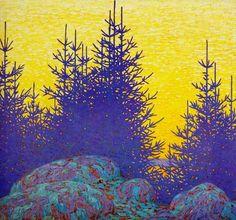 Decorative Landscape 1917 (yellow sky blue spruce ) by Lawren Stewart Harris