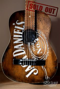 hand-painted guitar Harley Davidson   #guitar #hand #paint #painted #custom  #art #biper #classic #acoustic #string #old #rustic #vintage #jack #daniel`s