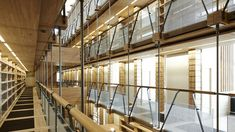 The Maison de l'Ecriture's library is built out of solid wood. Solid Oak, Architecture, Building, Wood, Switzerland, Arquitetura, Woodwind Instrument, Buildings, Timber Wood