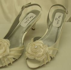 Diamondwhite Wedding Shoes small heel on Etsy, $142.00