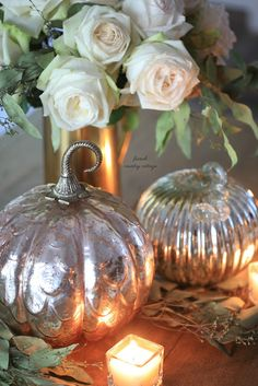 Pretty little mercury glass pumpkins -  The other day I was wandering along minding my own business   while shopping HomeGoods...         when it happened.