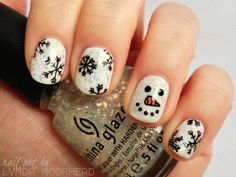 Glitter Snowman Winter Nail Art - White Cool Winter Nail Art Design