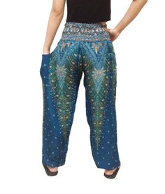 Peacock Strips Comfy Yoga Pants Wide Leg by SawasdeejaoThailand