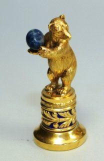 Russian Silver and Enameled Imperial Seal. Imperial Stamp on bottom Double Eagle with Crown. Top of Seal has Russian Federation Bear holding Blue Lapis Egg. Comes in Faberge Box. Gold Wash finish. Measures 3.25 Tall Stamp is 1.25 Wide. Weights 153.8 Grams.