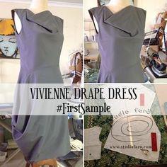 Vivienne Drape Dress - First Sample (well-suited) Drape Dress Pattern, Suit Pattern, Clothing Patterns, Dress Patterns, How To Make Clothes, Block Dress, Pattern Cutting, Draped Dress, Diy Fashion