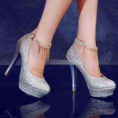 Hottest Silver Sequins Upper Close Toe Stiletto Heels Prom Shoes With Tassels : Tidebuy.com