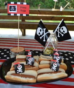 Pirate Party - Pirate Hot Dogs - Find more Pirate Birthday Party Ideas at http://www.birthdayinabox.com/party-ideas/guides.asp?bgs=10
