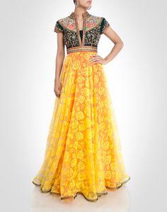 multi-tone floral zardosi and rhinestone work gown.  Shop Now: www.kimaya.in