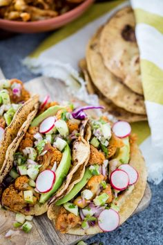 Chipotle Cauliflower Carnitas Tacos with Green Apple Salsa (vegan)
