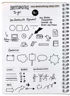 Sketchnotes and handlettering in the Bullet Journal - Sketchnote Tipps & Tricks - Arte Bullet Journal Journaling, Journal Layout, Bullet Journal Inspiration, Minimalist Bullet Journal, Visual Note Taking, Sketch Notes, School Notes, Note Doodles, Alphabet