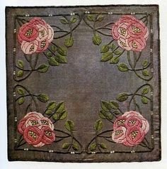 Ann Macbeth (1875-1948) - Embroidered Cushion Cover. Circa 1906. Macbeth Studied at the Glasgow School of Art and about 1911 she succeeded Jessie Newbery as Head of its Embroidery Department.