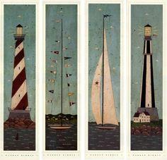 Nautical Panels Set of 4 Warren Kimble Folk Picture Art | eBay: