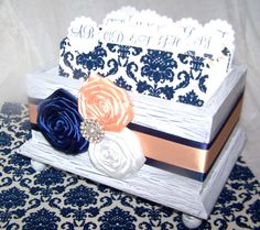 Wedding Guest Book Box  Navy Blue and Peach White by itsmyday