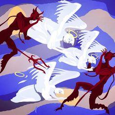 angels loves demons Demons, Moose Art, Angels, Illustrations, Anime, Demons 2, Angel, Illustration, Devil
