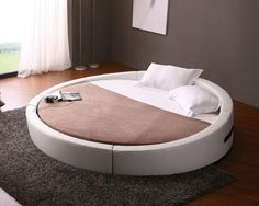 The Vig Furniture Opus Modern Round Leather Bed is a unique bed that is perfect for updating your bedroom to a contemporary style. The bed has a round mattress White Sofas, White Pillows, Modern Bedroom Furniture, Contemporary Bedroom, Bed Furniture, Furniture Stores, Contemporary Design, Circle Bed, Round Beds