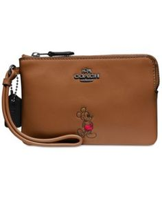 COACH Boxed Mickey Corner Zip Wristlet in Calf Leather | macys.com