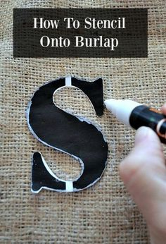 How to stencil a letter onto a burlap bag