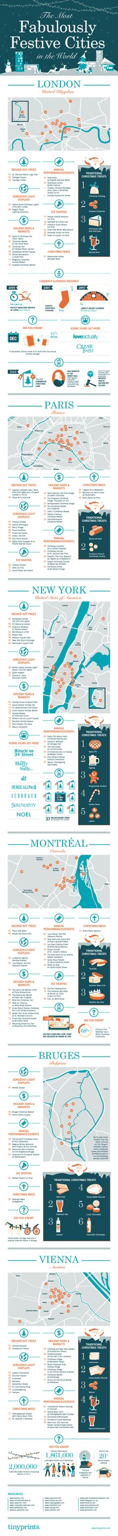 Infographic: The Most Fabulously Festive Cities in the World on the Tinyprints Blog. #infographic