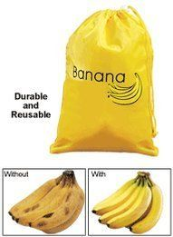 """Banana Storage Bag by Miles Kimball by Miles Kimball. $9.99. Bananas stay deliciously fresh and perfectly ripe in this bright yellow banana bag you store in the fridge! Drawstring bag keeps oxygen out, preserving bananas up to 2 weeks. 100% polyester; wipe clean. 11 1/4"""" long x 15"""" wide."""