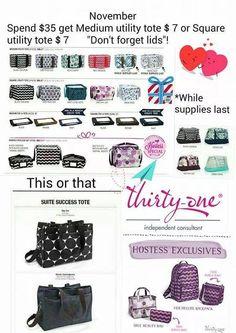 November 2014 specials! LOVE the medium utility tote for only $7. {mythirtyone.com/Laura-R}