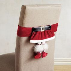 Claus needs a break. Fresh off her busy season of wrangling elves at the North Pole, she'd love nothing more than to hang from your chair in jolly fashion. Country Christmas Decorations, Christmas Mesh Wreaths, Christmas Tablescapes, Xmas Decorations, Christmas Stockings, Holiday Decor, Christmas Design, Christmas Home, Christmas Crafts